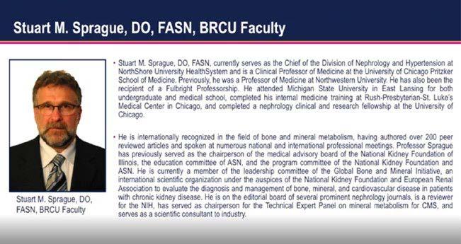 Stuart M. Sprague, DO, FASN, BRCU Faculty.